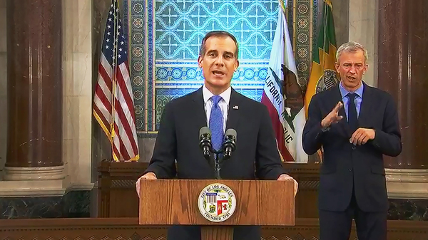 Los Angeles Mayor Eric Garcetti, pictured giving his annual State of the City speech in April, announced on Wednesday that he is authorizing the Department of Water and Power to shut off service at properties hosting large parties, which are forbidden under coronavirus health orders.