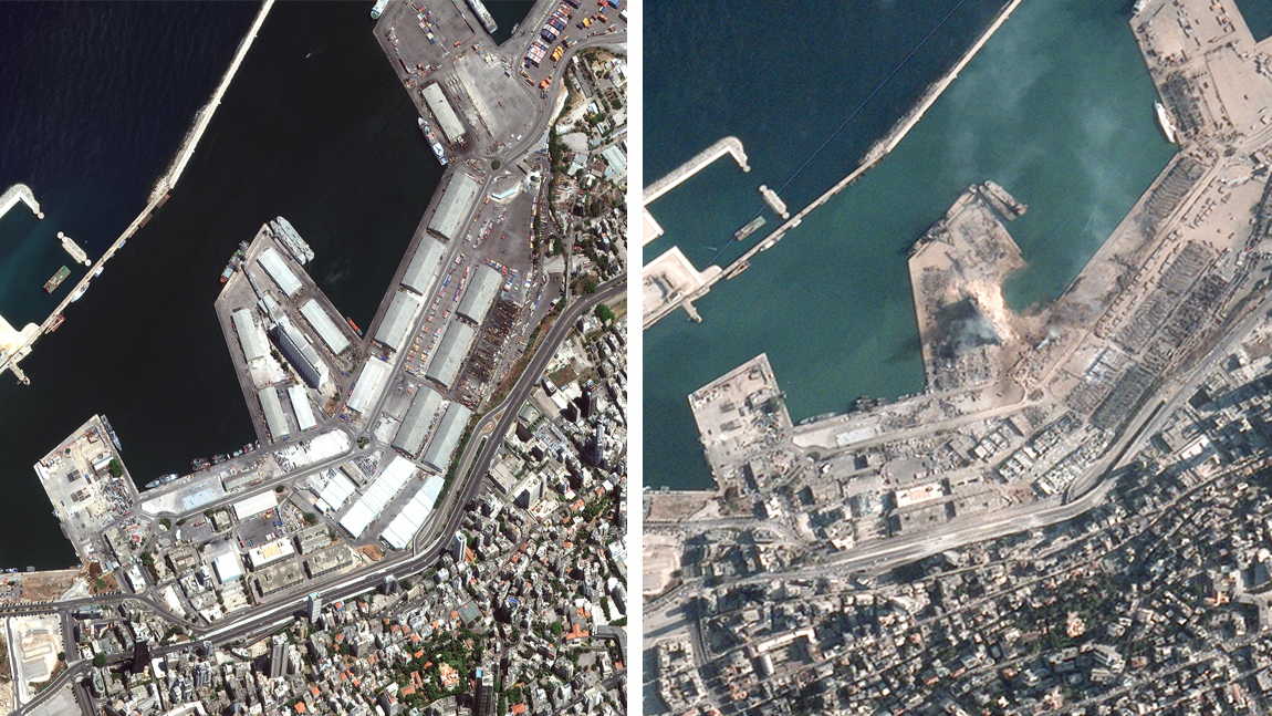 Satellite Images Show Aftermath Of Blast In Beirut, Lebanon - NPR