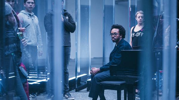"""Artist Ekene Ijeoma on the set of """"Deconstructed Anthems"""" at Houston"""