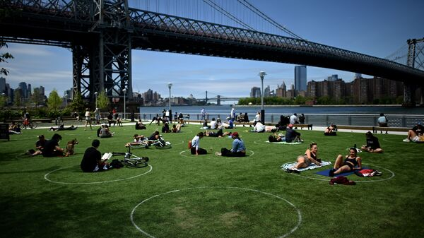 A new study has found that parks in low-income and majority-nonwhite communities are smaller and serve a larger number of people per park acre. People are seen here relaxing in May in Brooklyn