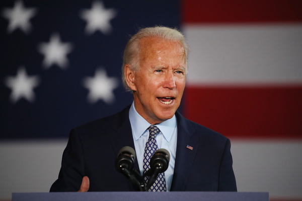 Former Vice President Joe Biden, seen here during a July campaign event in Dunmore, Pa., told reporters that it would be up to the attorney general to decide whether to pursue criminal charges against President Trump once he leaves office.