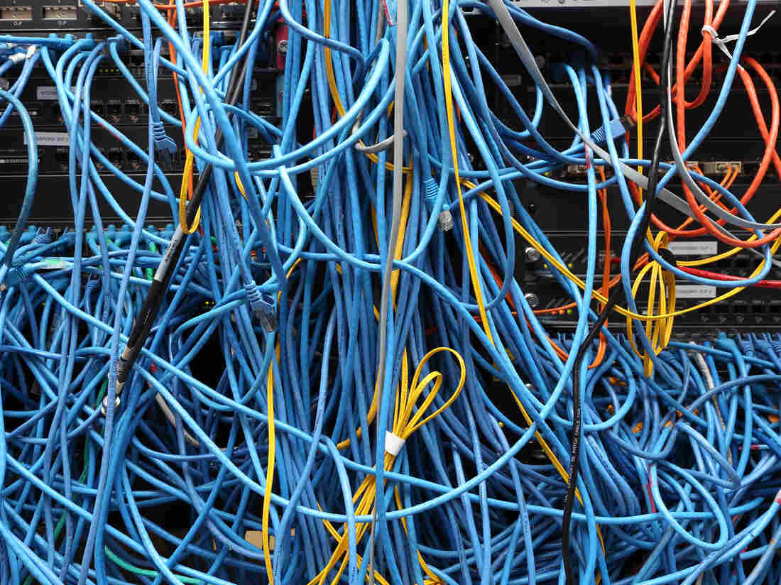 NEW YORK, NY - NOVEMBER 10: Network cables are plugged in a server room on November 10, 2014 in New York City. (Photo by Michael Bocchieri/Getty Images)