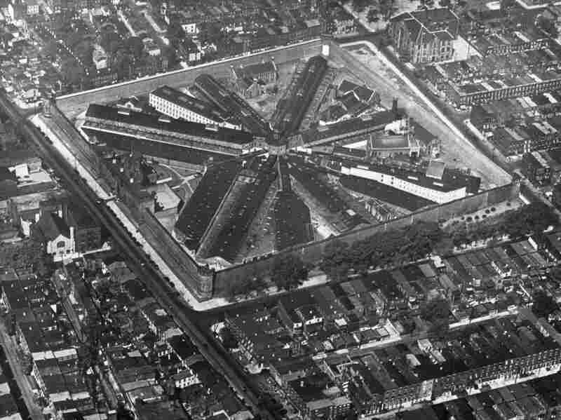 An aerial view of Eastern State Penitentiary. When it was first built, it was the largest public building in the U.S. The building had indoor plumbing before the White House.