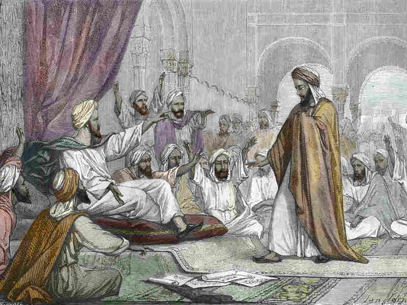 Engraving from La-vie-des-savants-illustres-au-Moyen-Age by Louis Figuier, 1867, of Averroes banished by the Moroccan caliph for heresy.