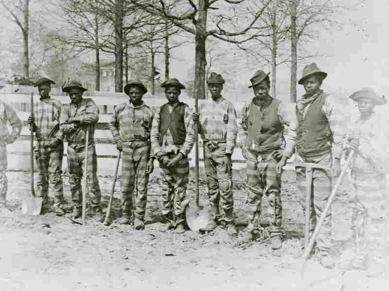A picture of a chain gang in Thomasville, Georgia, taken in 1898. With the enactment of Jim Crow laws, black prison populations in southern states rose dramatically.
