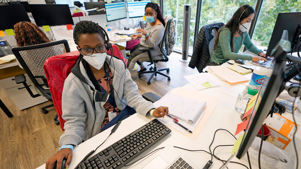 From left to right; contact tracers Christella Uwera, Dishell Freeman and Alejandra Camarillo work at Harris County Public Health Contact Tracing facility in Houston, Texas, Thursday, June 25, 2020.