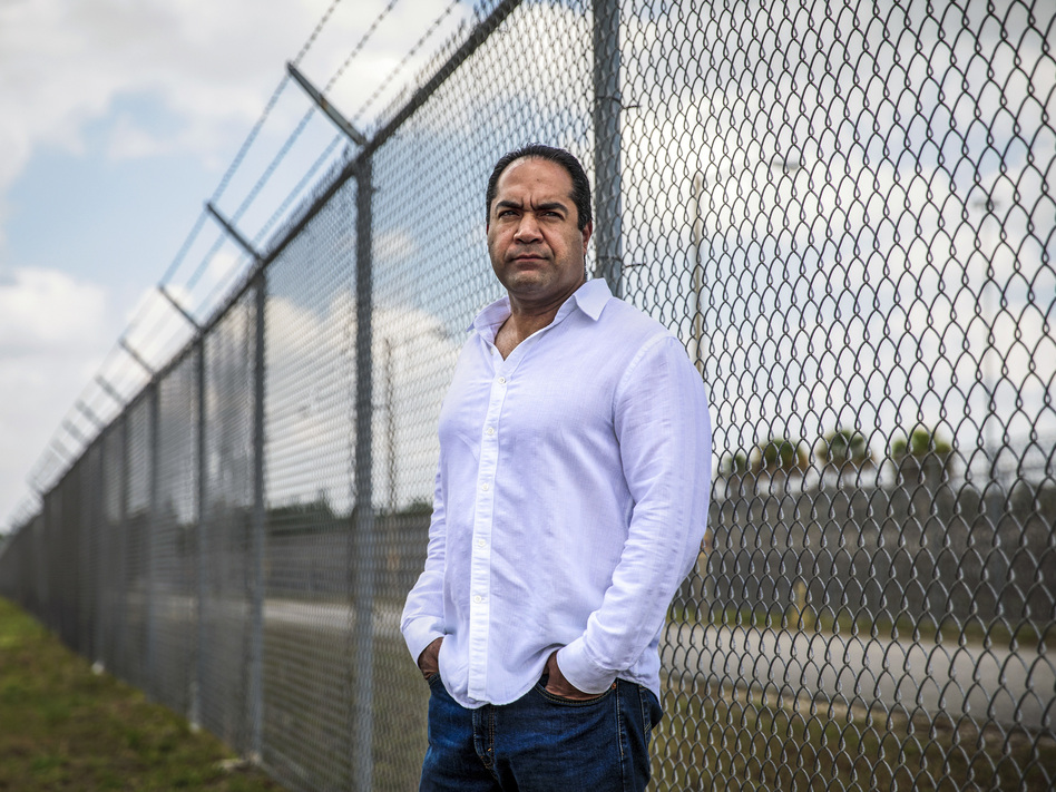Kareen Troy Troitino, a guard at the Federal Correctional Institution, stands outside the Miami facility in April. (Scott McIntyre for The Washington Post via Getty Images)