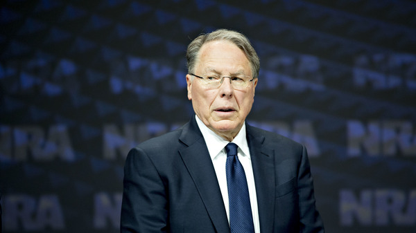 NRA CEO Wayne LaPierre stands on stage at the NRA annual meeting in Dallas, Texas, on May 5, 2018. The New York attorney general announced Thursday she will launch a civil action to dissolve the association.