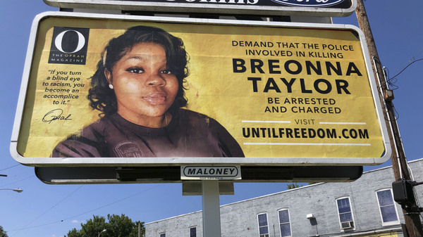 A billboard with a photo of Breonna Taylor, sponsored by O, The Oprah Magazine, is on display on Friday in Louisville, Ky. It