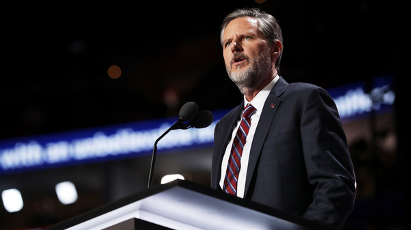 Jerry Falwell Jr. delivers a speech during the 2016 Republican National Convention in Cleveland.