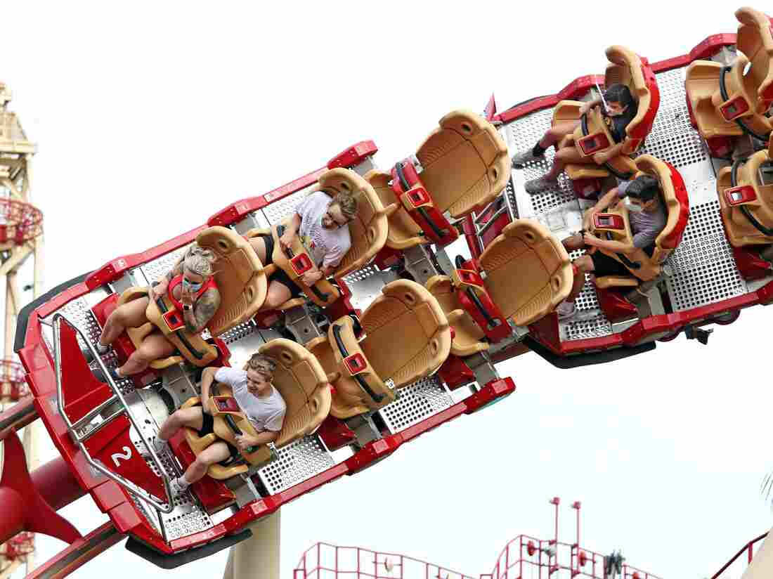 A roller coaster at Universal Studios theme park on the first day of reopening from the coronavirus pandemic, on June 5, 2020, in Orlando, Florida.