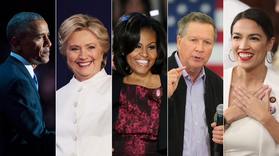 On the list of speakers at next week's Democratic National Convention are (from left) Barack Obama, Hillary Clinton, Michelle Obama, John Kasich and Alexandra Ocasio-Cortez. (Getty Images/NPR)