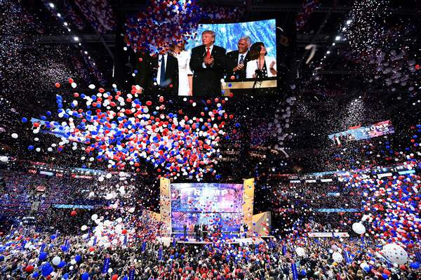 Ballons fall after Republican presidential candidate Donald Trump spoke and accepted the party nomination on the last day of the Republican National Convention on July 21, 2016, in Cleveland, Ohio.