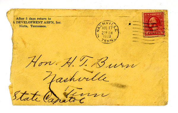 The envelope that contained the letter Febb Burn wrote to her son, Tennessee state Rep. Harry T. Burn, in which she urged him to vote for the 19th Amendment.