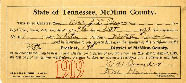 Febb Burn's 1920 voter registration card.
