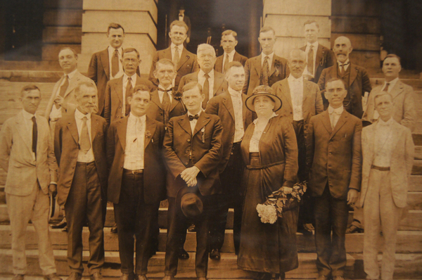 Tennessee state Rep. Harry T. Burn (center, second row from front, smiling) poses with suffrage activist Harriet Taylor Upton and all of Tennessee's Republican state legislators who voted for the amendment.