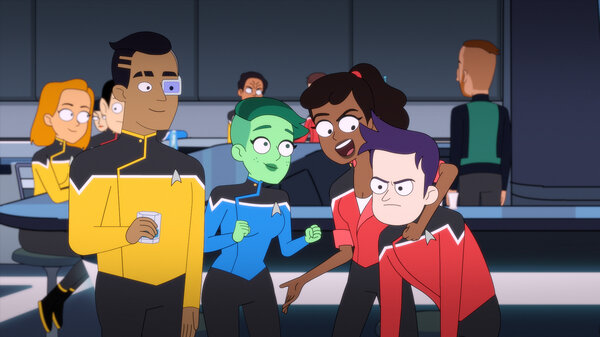 Ensign Sam Rutherford (Eugene Cordero), Ensign D'Vana Tendi (Noel Wells), Ensign Beckett Mariner (Tawny Newsome), and Ensign Brad Boimler (Jack Quaid) in the new CBS All Access animated series Star Trek: Lower Decks.