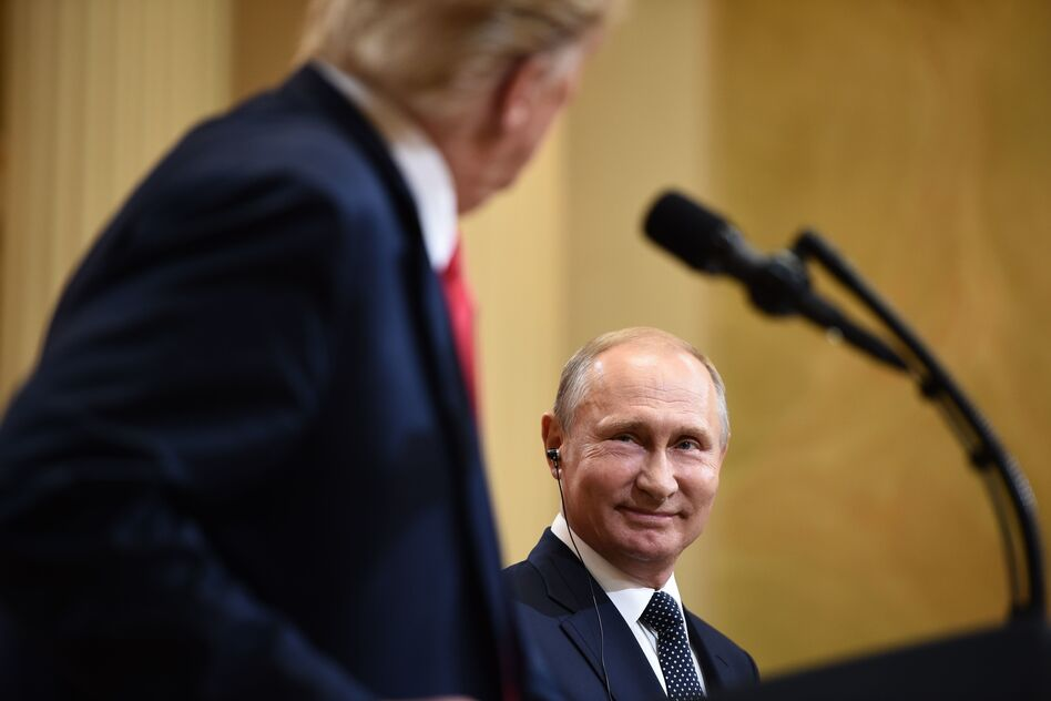 President Trump and Russian President Vladimir Putin attend a joint press conference after a July 2018 meeting in Helsinki. (Brendan Smialowski/AFP via Getty Images)