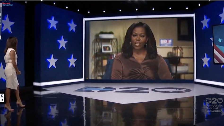 In this screenshot from the 2020 Democratic National Convention's livestream, actress and activist Eva Longoria introduces former first lady Michelle Obama. (DNCC via Getty Images)