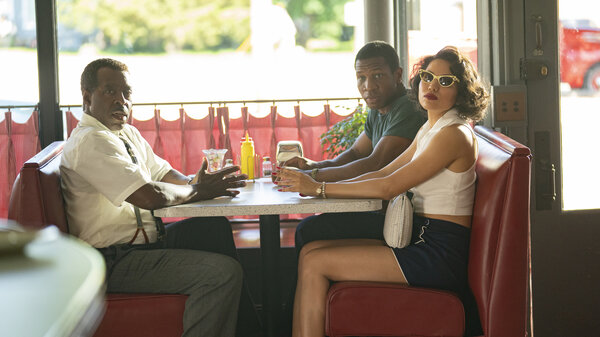 (L to R): Uncle George (Courtney B. Vance), Atticus (Jonathan Majors) and Letitia (Jurnee Smollett) in HBO's Lovecraft Country.