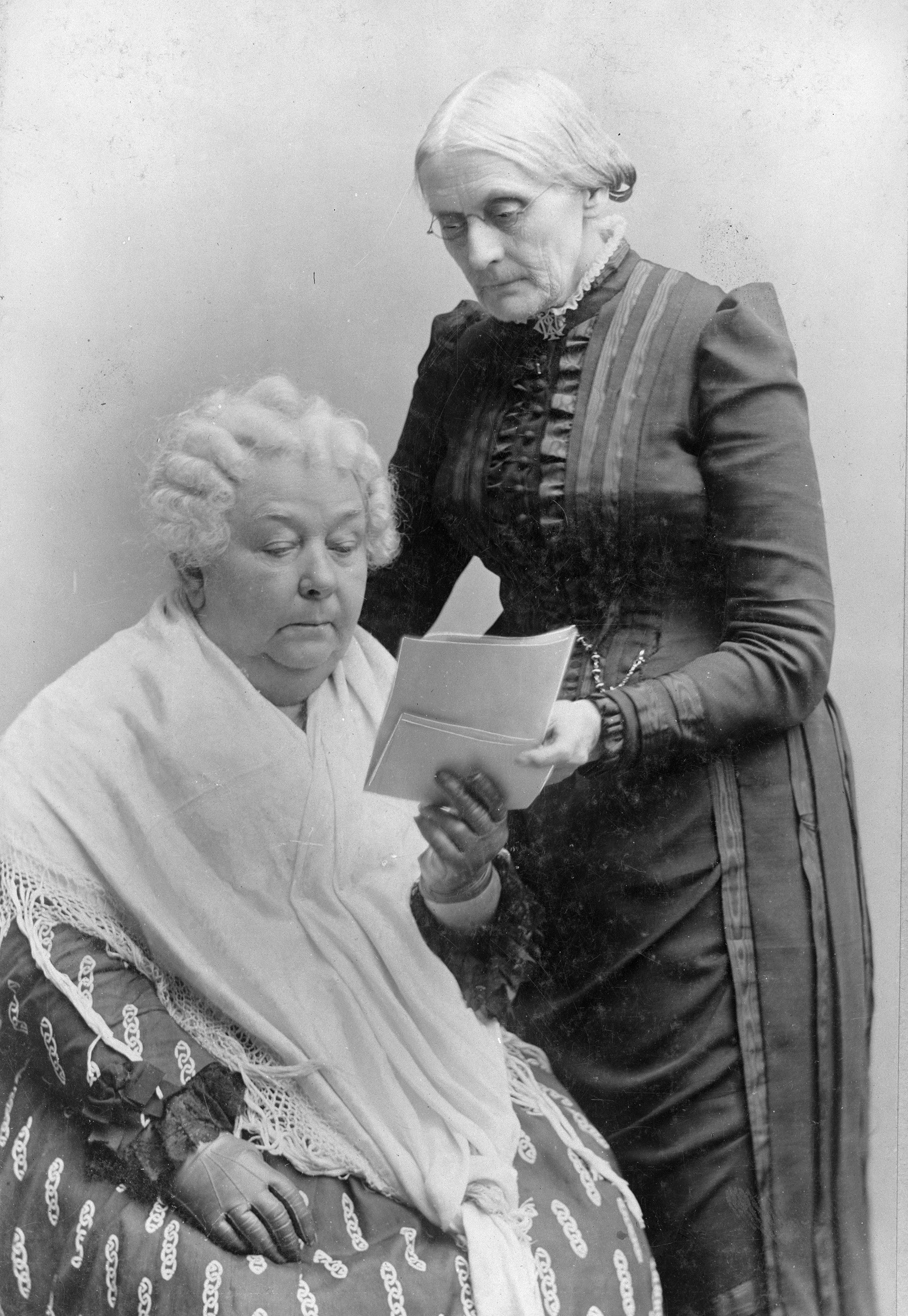 Early suffragist leaders Elizabeth Cady Stanton (left) and Susan B. Anthony later split off from their alliance with abolitionists. (Library of Congress)