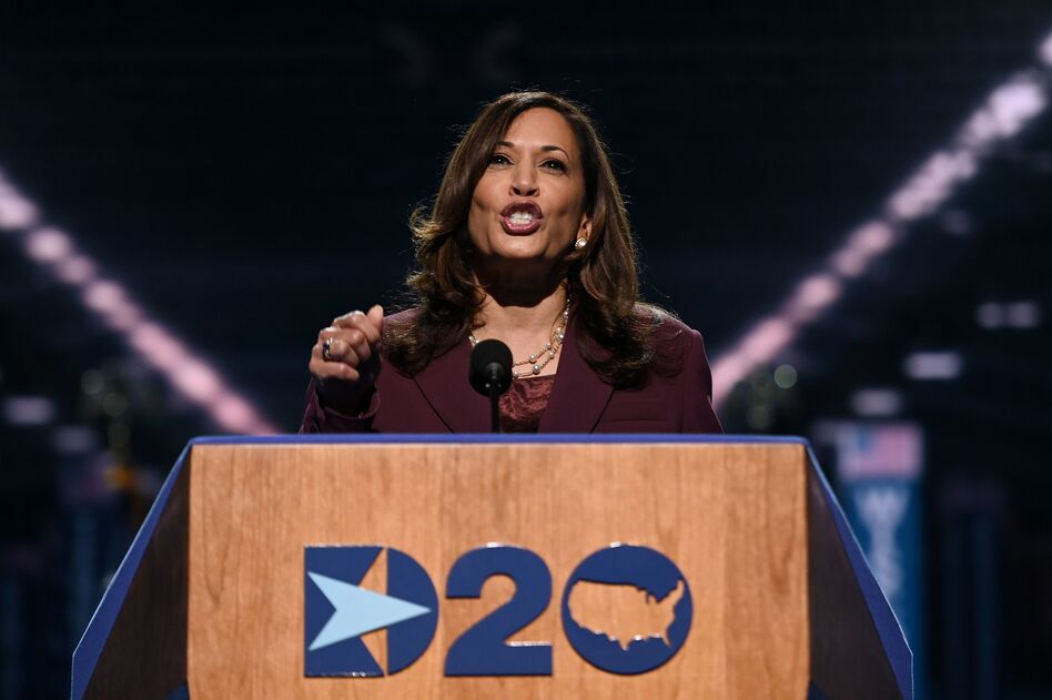 Democratic vice presidential nominee Kamala Harris speaks during the third day of the Democratic National Convention. (Olivier Douliery/AFP via Getty Images)