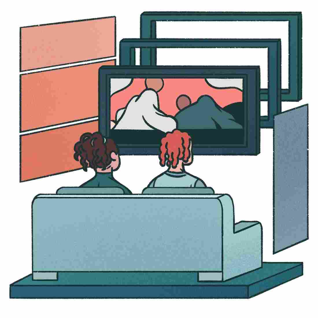 Two friends watch television.