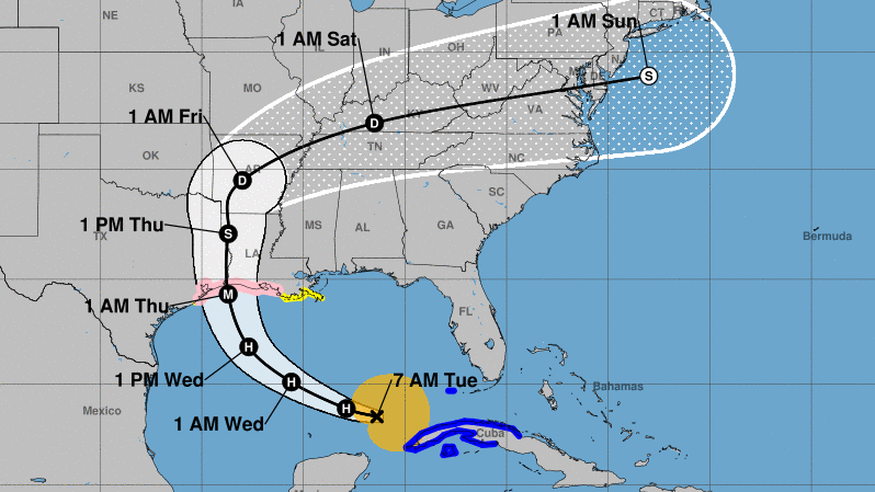 Forecast calls for storms throughout week as tropical systems move through Gulf