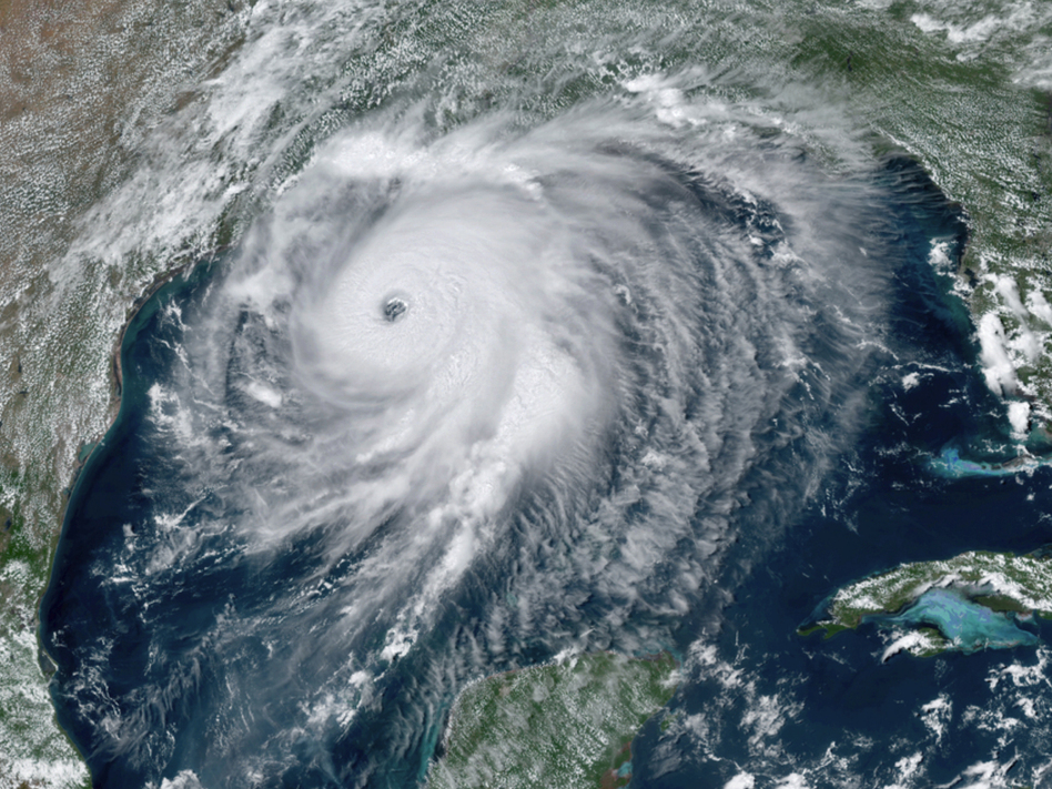 Hurricane Laura approaches the Gulf Coast of the U.S. on Wednesday. The storm rapidly intensified before it made landfall. (NOAA via AP)