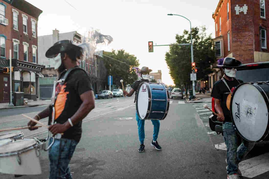 The Positive Movement Entertainment drumline and drill team, which opened for an outdoor screening of short films on Aug. 5, in West Philadelphia, typically has between 3 and 8 members who perform on a rotating basis.