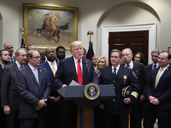 President Trump speaks about the First Step Act prison reform bill at the White House in 2018.