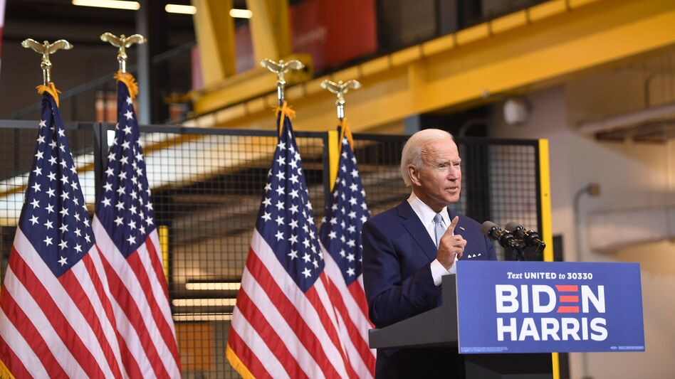 Democratic presidential nominee Joe Biden denounced President Trump during remarks in Pittsburgh on Monday. (Saul Loeb/AFP via Getty Images)