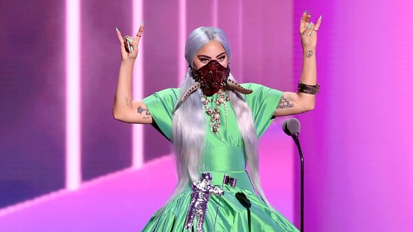 Lady Gaga wore a lot of masks Sunday night, but this is the one with tusks. Yay, tusks!