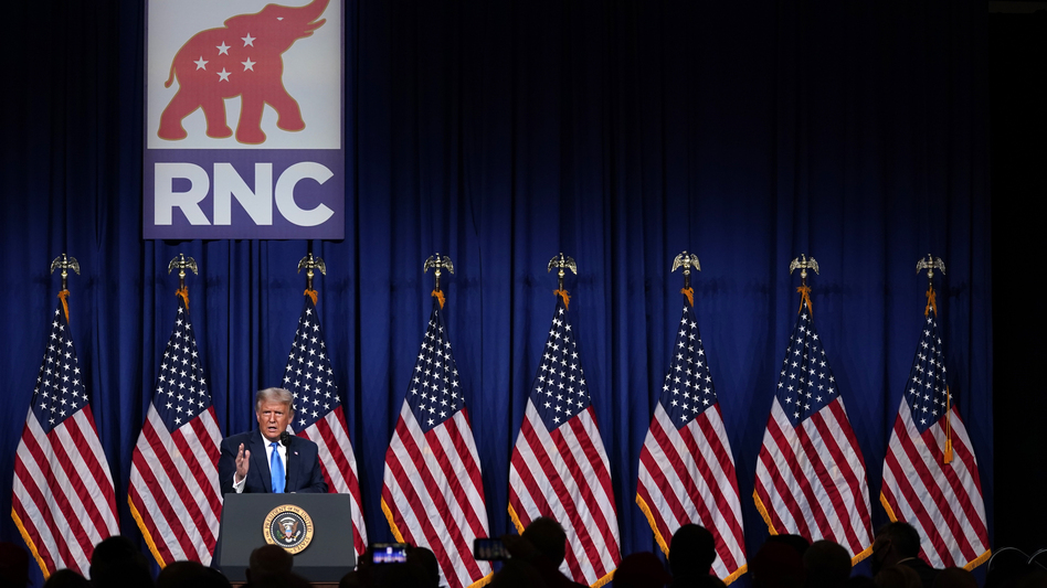 President Trump speaks during the first day of the Republican National Convention in Charlotte, N.C., where he was unanimously supported by delegates for reelection. Many young members of the Republican Party are not supporting him and worry about the future of the GOP, given that it's now defined by Trump. (Evan Vucci/AP)