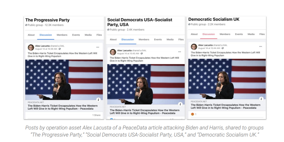 Examples of fake news stories shared on Facebook by a site posing as a news source, PeaceData, which the research firm Graphika says was part of a Kremlin-backed operation to steer voters away from the campaign of Joe Biden and Kamala Harris. (Graphika )