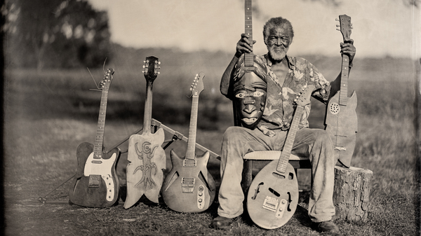 Freeman Vines and his guitars in 2015.