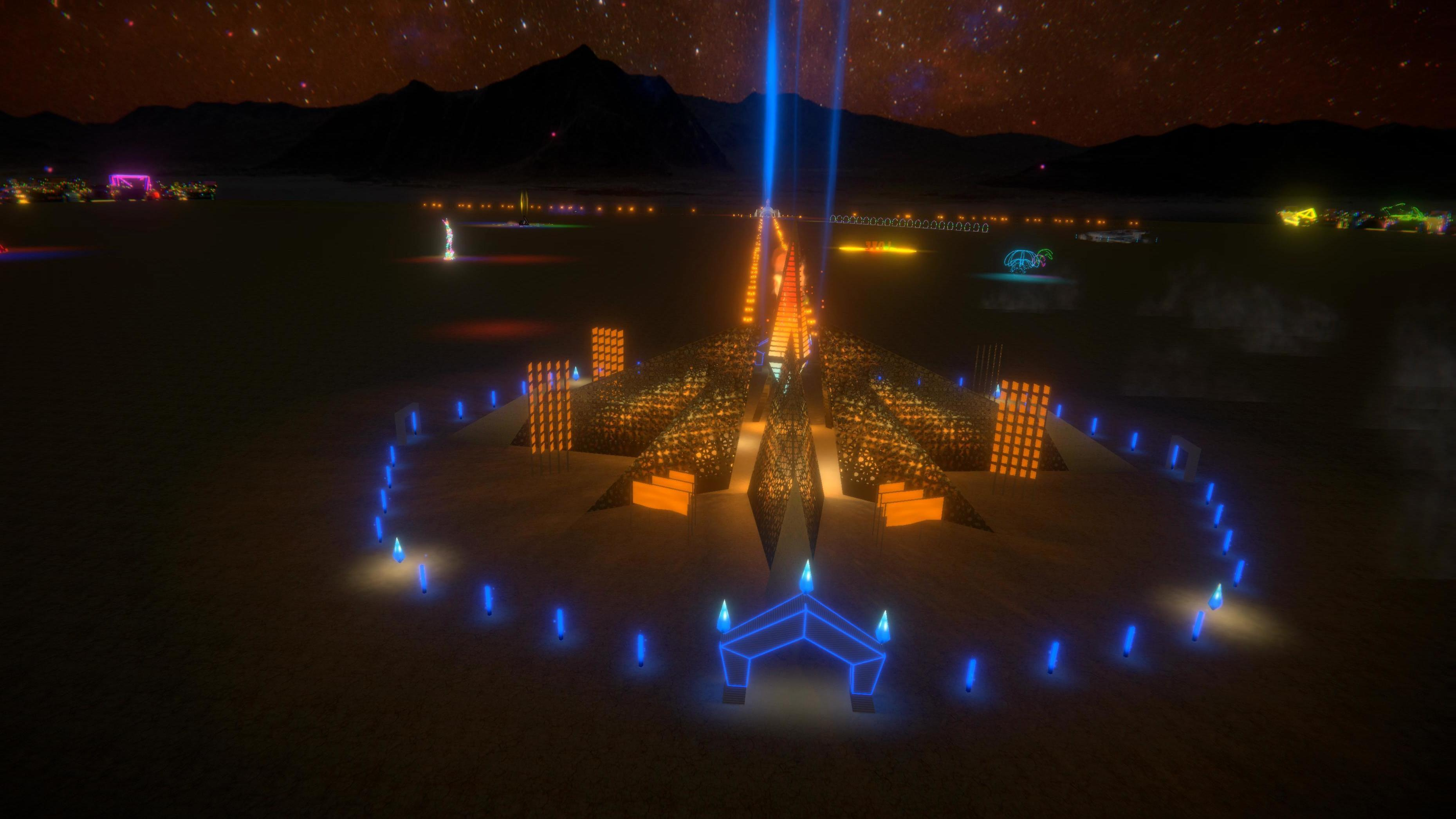 """The Multiverse Ethereal Empyrean Experience, by Laurence """"Renzo"""" Verbeck and Sylvia Adrienne Lisse, was selected as the official Black Rock City Temple for 2020."""