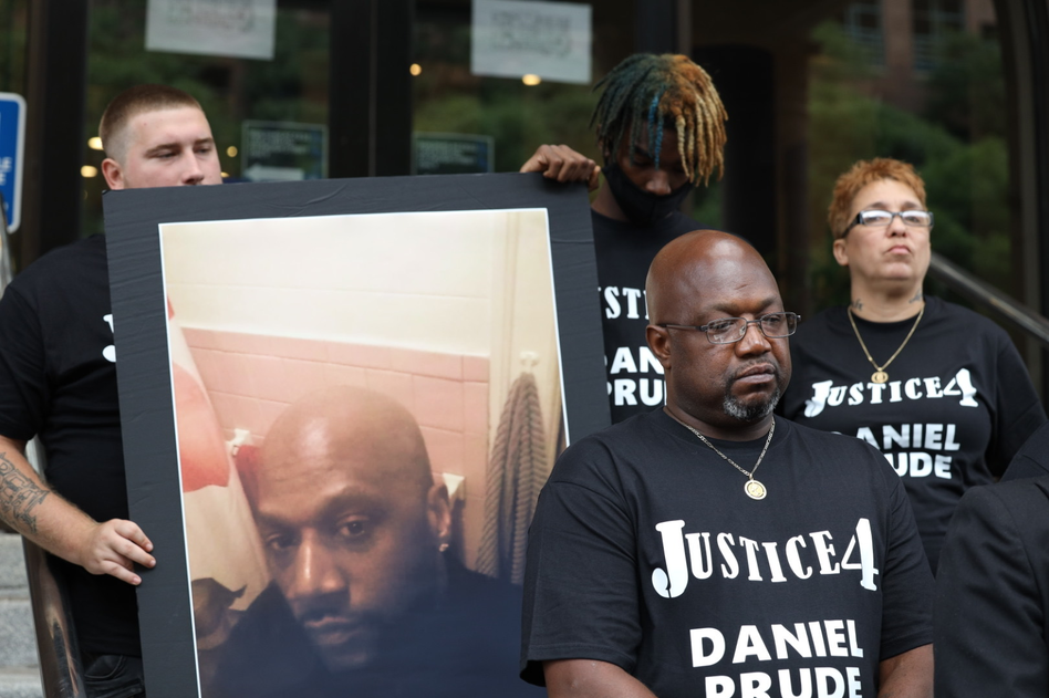 Joe Prude announces plans to sue over the death of his brother, Daniel Prude, while outside Rochester, N.Y., City Hall on Wednesday. (Max Schulte/WXXI News)