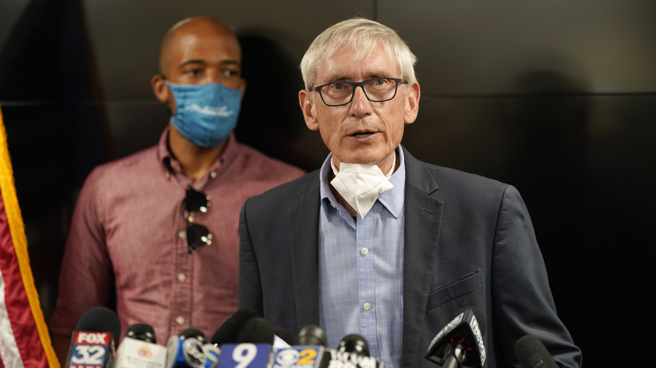 Wisconsin Gov. Tony Evers speaks during a news conference on Aug. 27, 2020, in Kenosha, Wis. (Morry Gash/AP)
