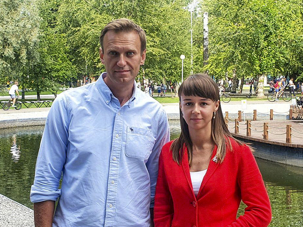 In this August photo, Alexei Navalny poses for a photo with Siberian politician Ksenia Fadeyeva. Navalny was removed from a medically-induced coma in a Berlin hospital after suffering what German authorities say was a poisoning with a chemical nerve agent while traveling in Siberia in August.