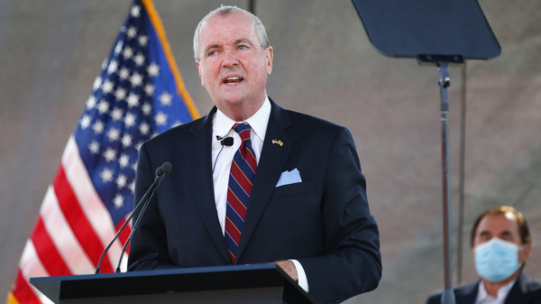 New Jersey Gov. Phil Murphy speaks during his 2021 budget address at Rutgers University in Piscataway, N.J., on Aug. 25.