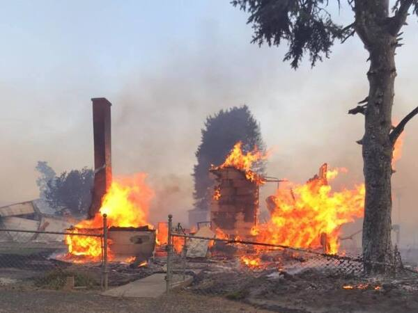 Little remains of a building in Malden, Wash., as a wildfire gutted the farming town of about 200 people south of Spokane on Labor Day.