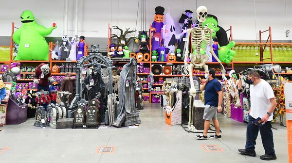 A store in Alhambra, California is stocked with Halloween decorations in September. Los Angeles County has issued health guidance discouraging people from trick or treating this year because of the coronavirus pandemic.