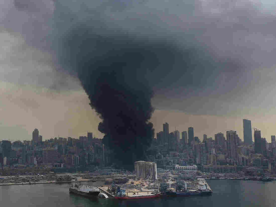 Beirut port ablaze, weeks after massive blast