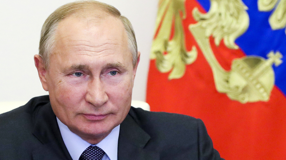 Russian President Vladimir Putin attends a meeting on economic issues via video conference Thursday at his Novo-Ogaryovo residence outside Moscow. (Mikhail Klimentyev/Sputnik/Kremlin Pool Photo via AP)