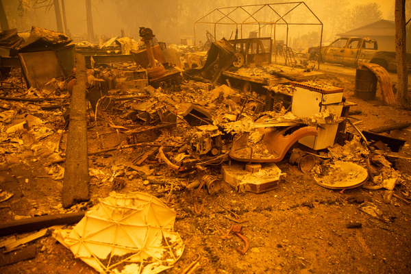 The remains of a home destroyed in the Santiam Fire near Gates.