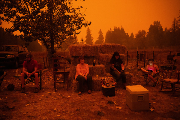 Bridgette Noce has taken in horses and people who were evacuated from nearby areas on Wednesday in Canby.
