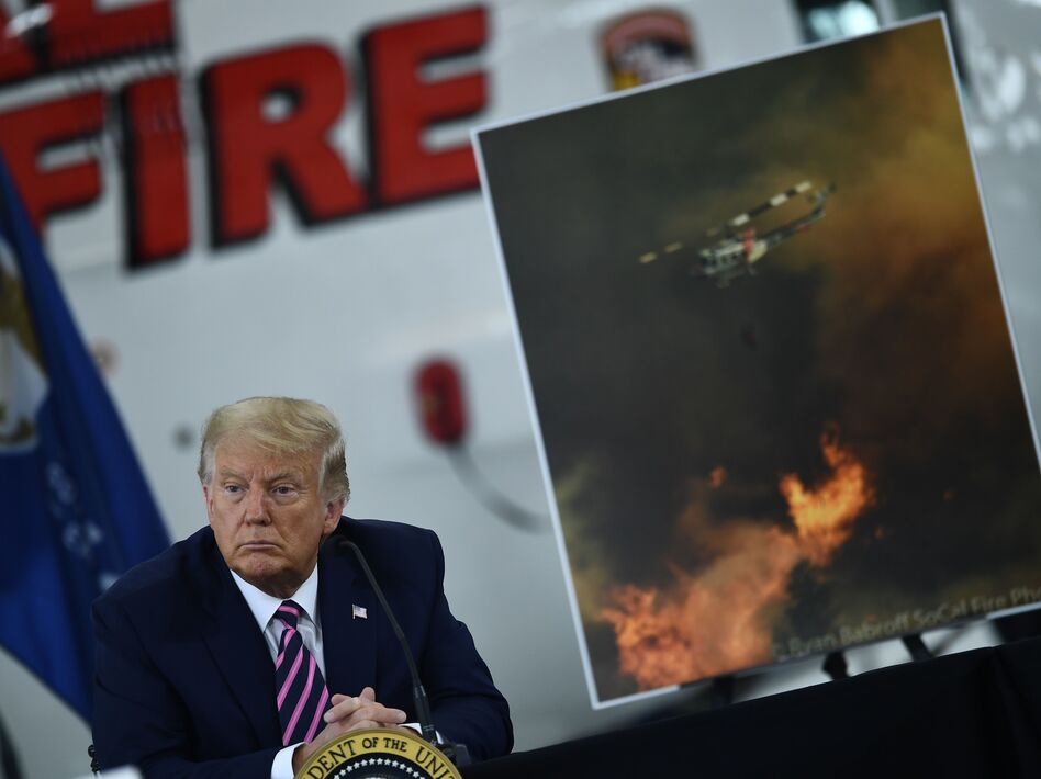 President Trump speaks Monday during a briefing on wildfires in McClellan Park, Calif. (Brendan Smialowski/AFP via Getty Images)