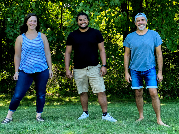 (From left) Program leaders Jessie Lotrecchiano and Zachary Jones and Executive Director David Brownstein of Wild Earth, a wilderness school in New York's Hudson Valley.