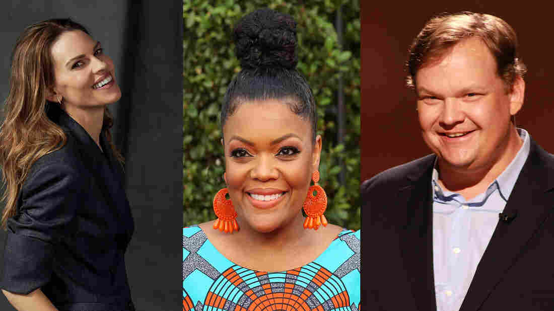 Hilary Swank, Andy Richter and Yvette Nicole Brown appear on an episode of Ask Me Another.